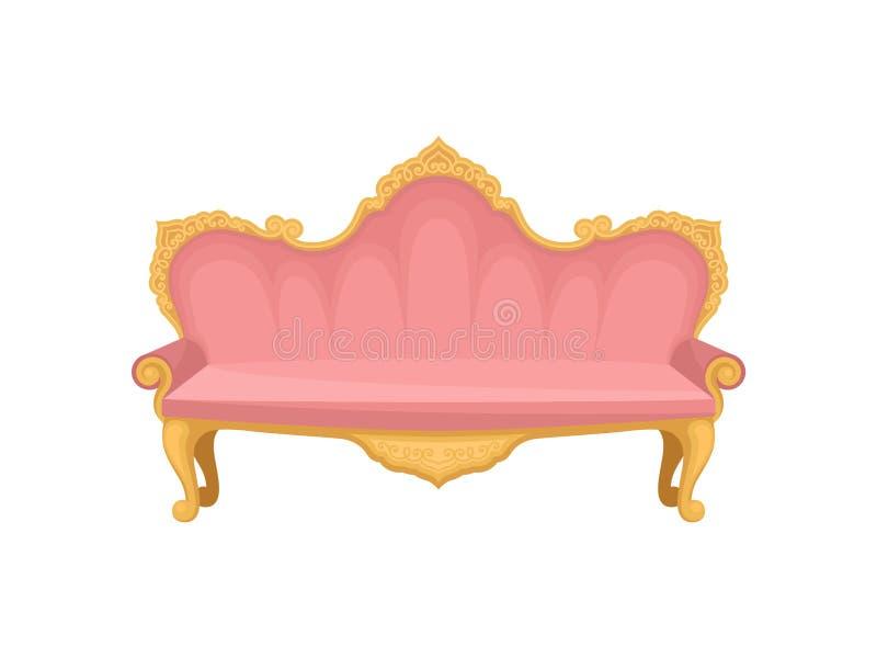 Pink sofa on white background. Princess furniture. Pink sofa on a white background. Princess furniture. Fabulous lifestyle. Retro interior object for apartment stock illustration