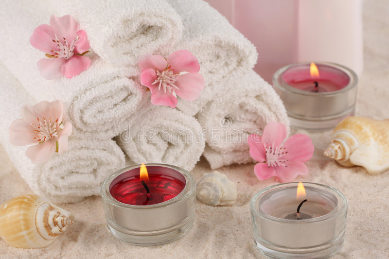 Pink spa composition stock images