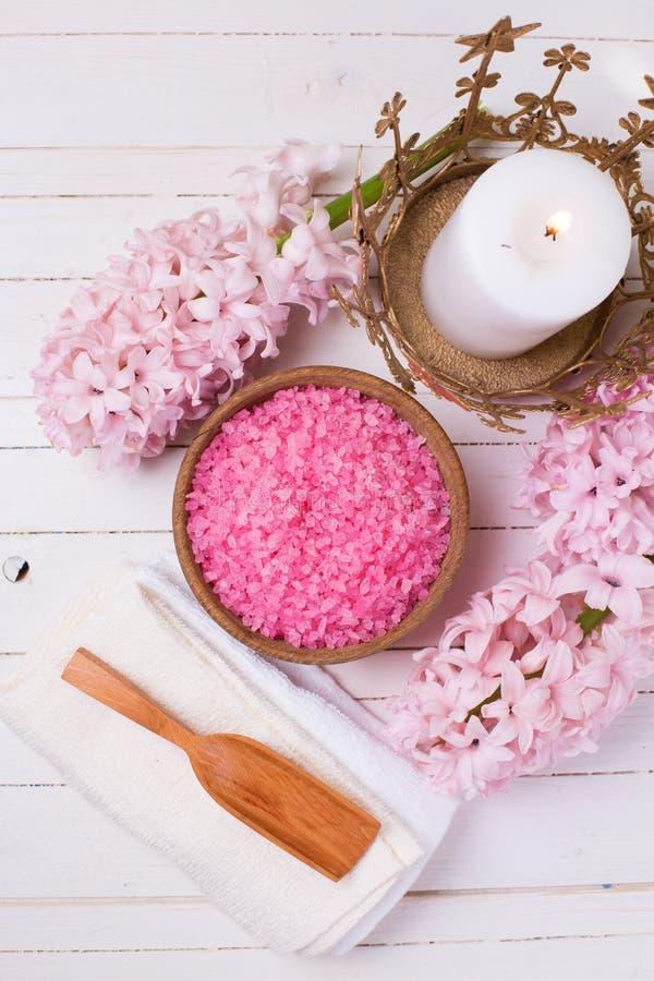Pink spa en wellness het plaatsen stock fotografie