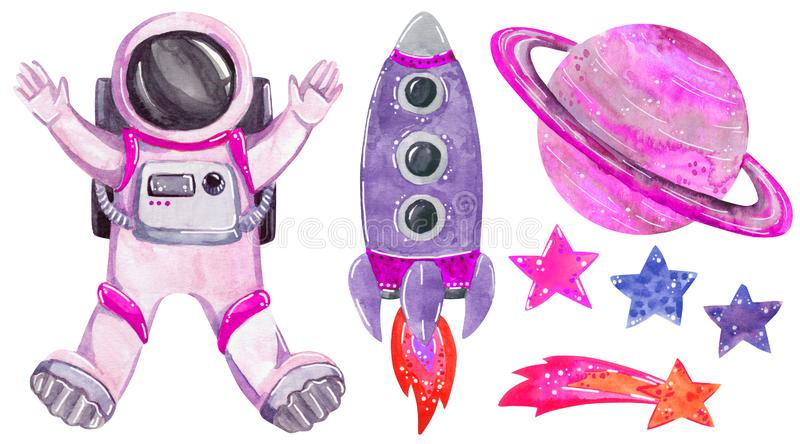 Pink space clipart set, hand drawn watercolor illustration isolated on white. vector illustration