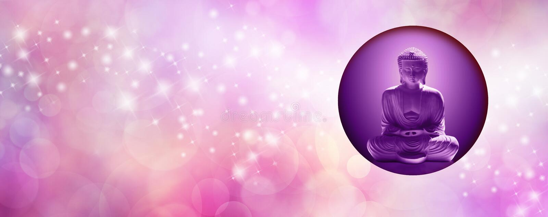 Pink Sparkling Mindfulness Buddha Banner stock photo
