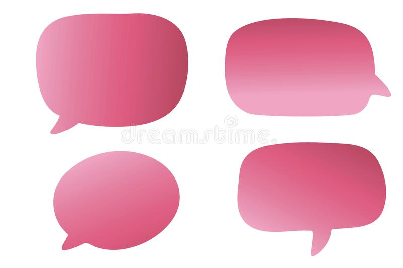 Pink speech bubble icon set on white background. Four, collection, color, message, new, creating, design, concep, business, think, comic, style, book, pop, art stock photo