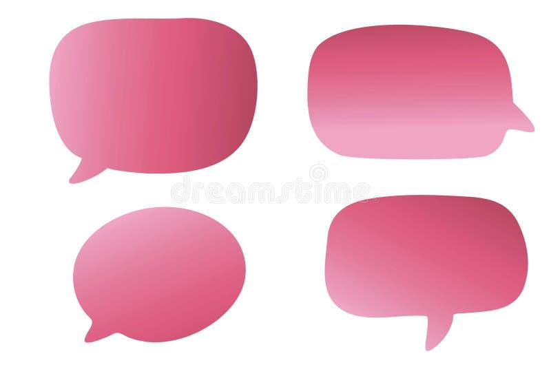 Pink speech bubble icon set on white background. stock photo