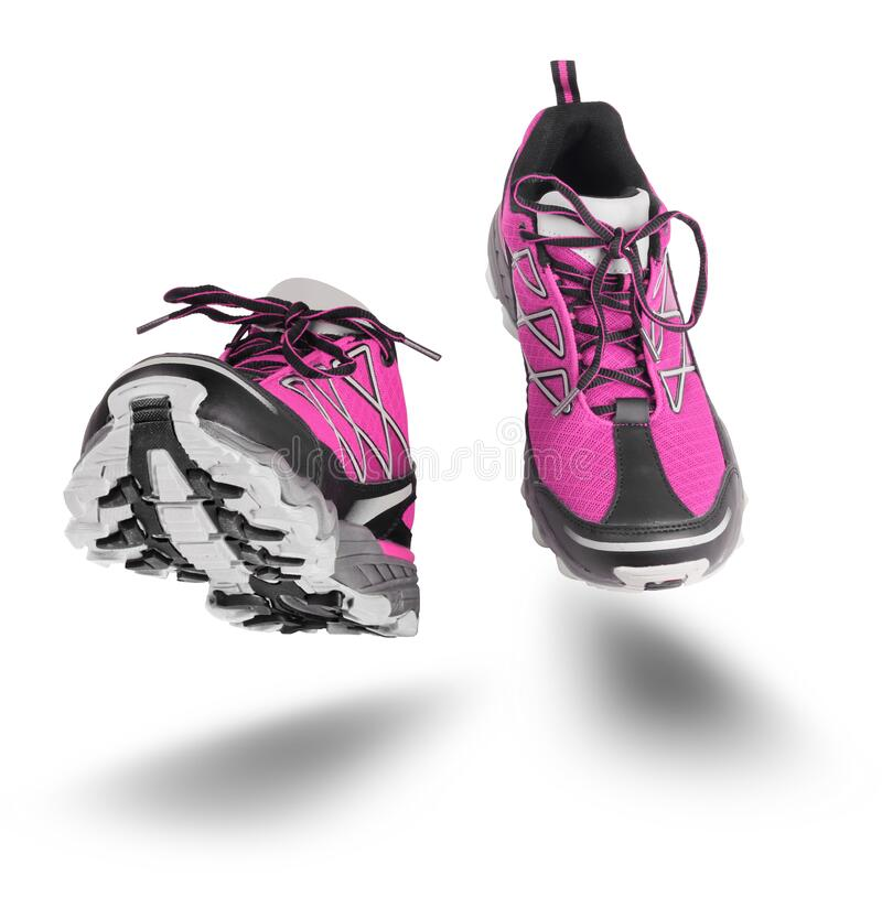Pink sport shoes running isolated on white royalty free stock image