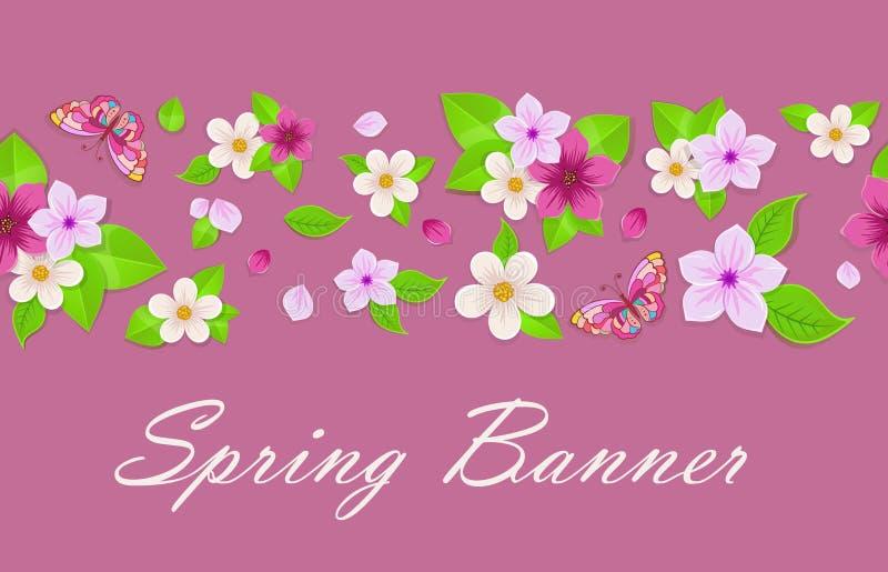Pink spring banner design. vector illustration