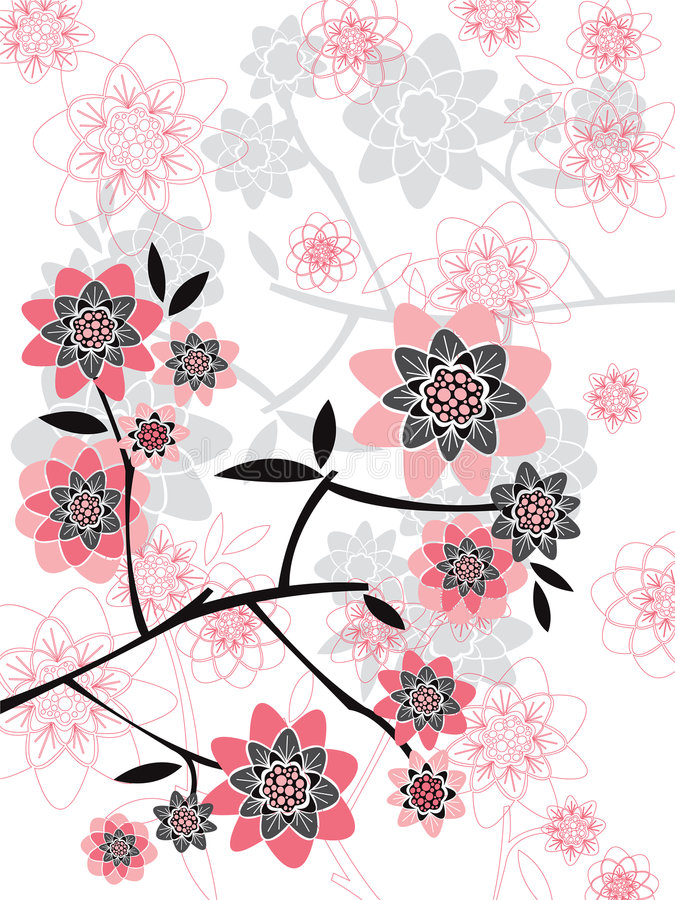 Pink spring floral silhouettes vector illustration