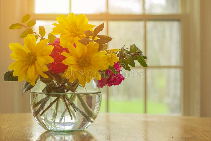 Pink spring flowers in vase with yellow and greens assorted together with open air window concept and nice weather outside with s stock images