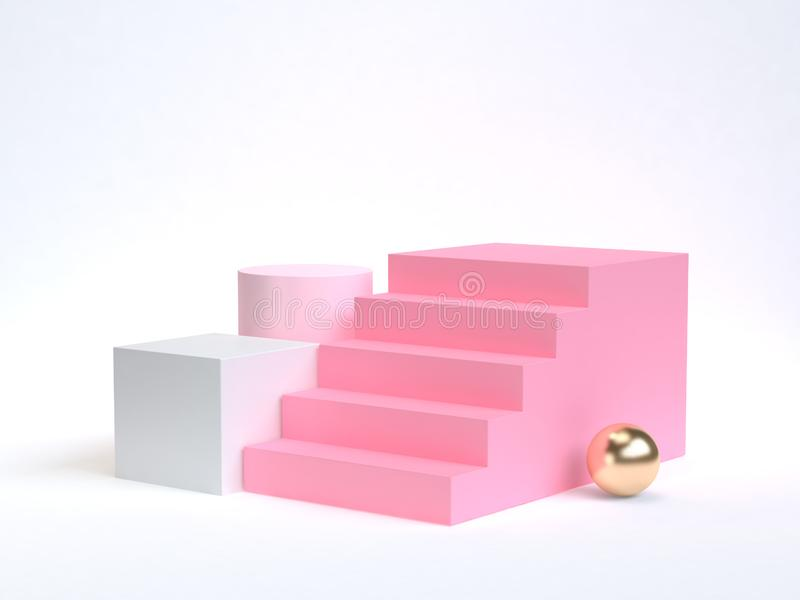 3d rendering pink staircase-stairway white background gold sphere royalty free illustration
