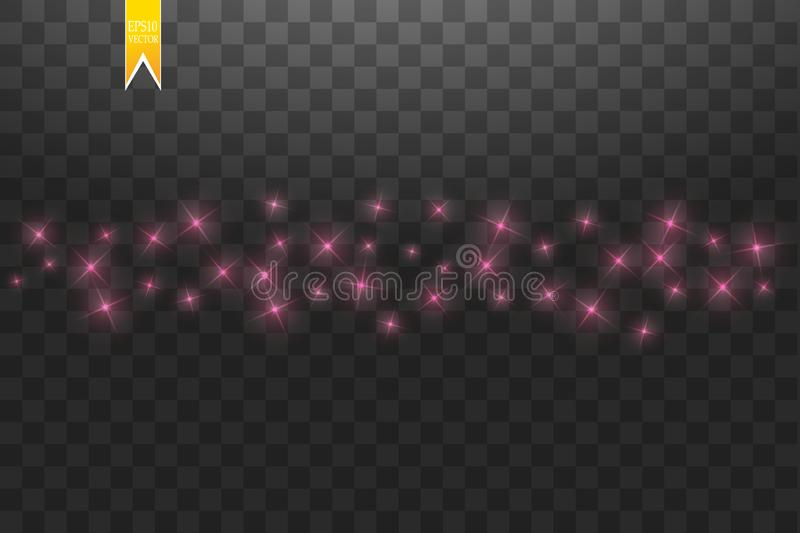 Pink star dust trail sparkling particles isolated on transparent background. Vector gold glitter wave illustration. royalty free illustration