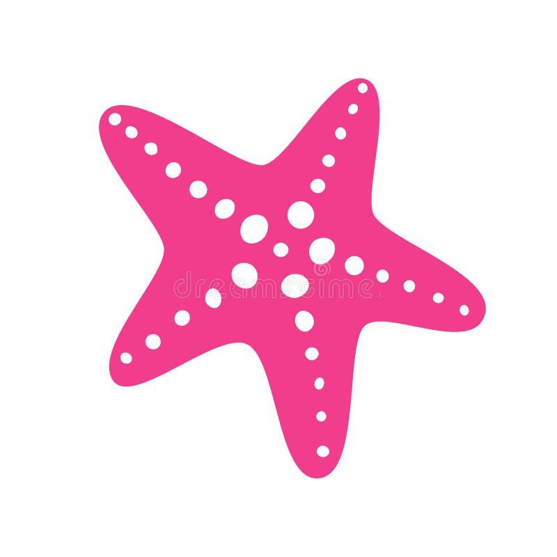 Pink starfish in flat style. Starfish icon. Sea star. Vector illustration royalty free illustration