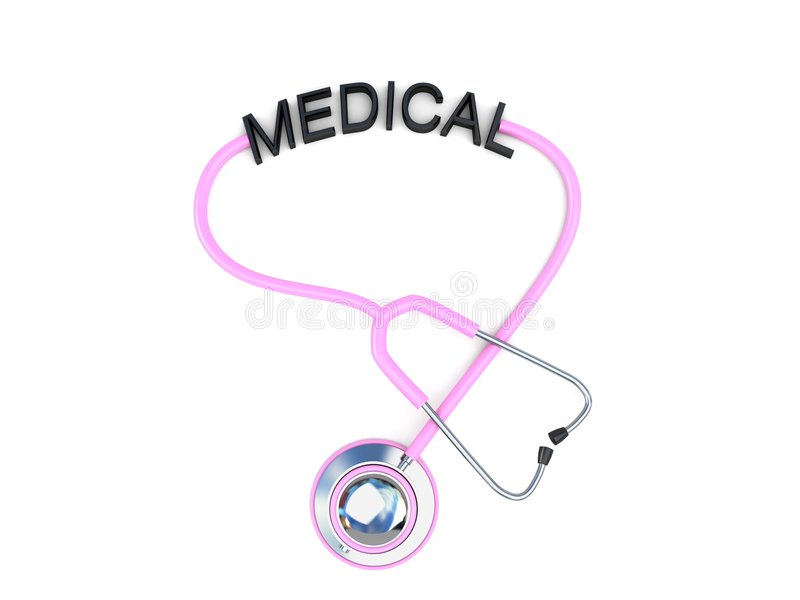 Pink Stethoscope With Medical Text Stock Photography