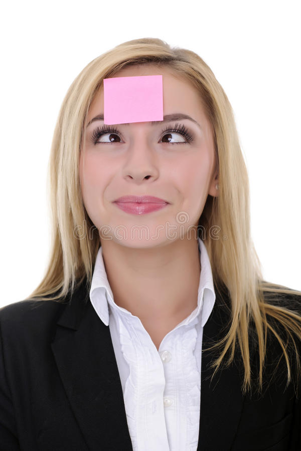 Pink Sticky Note On Woman Face Stock Photos