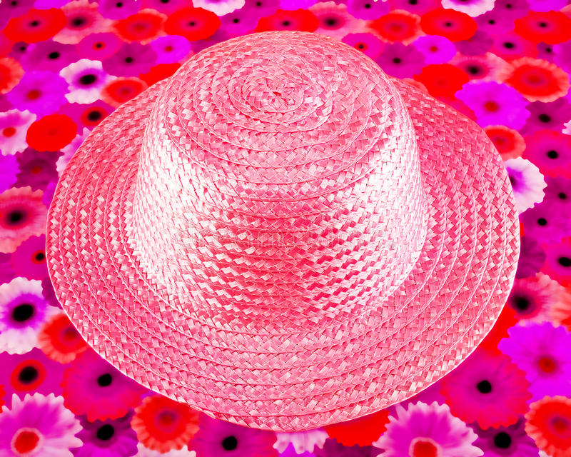 Pink Straw Hat Stock Photo