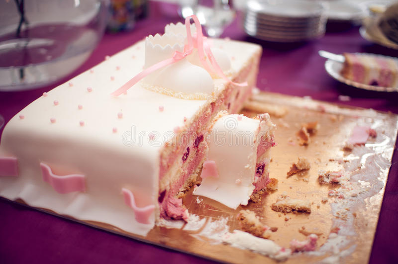 Pink strawberry cake royalty free stock photos