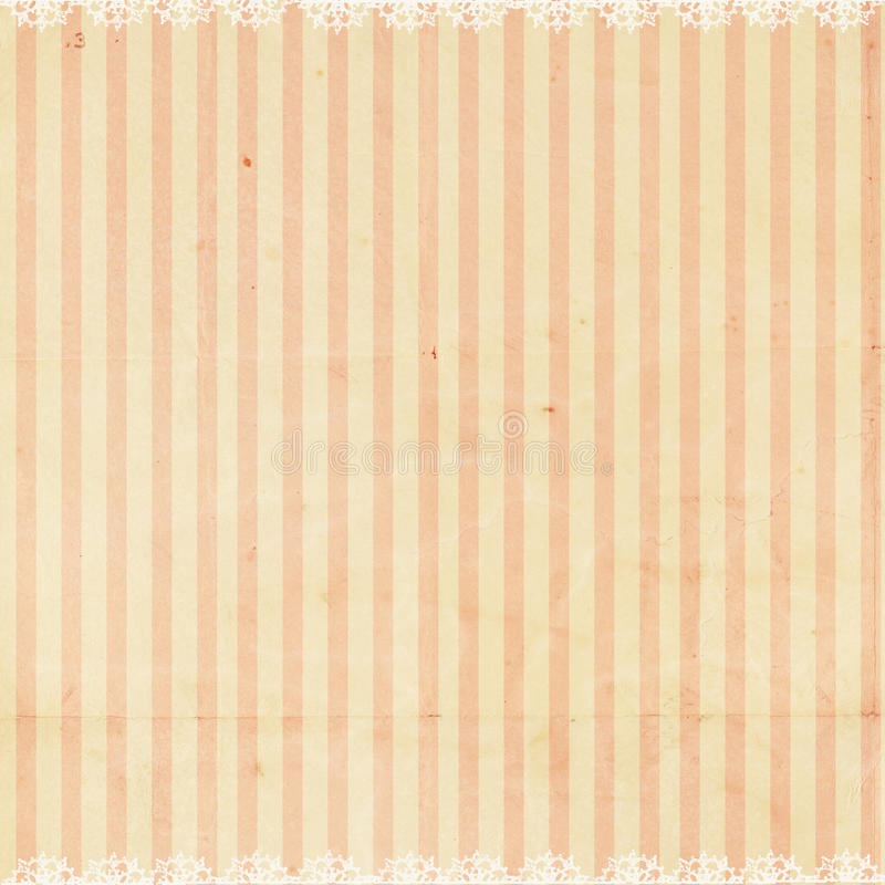 Pink striped background with lace trim stock image