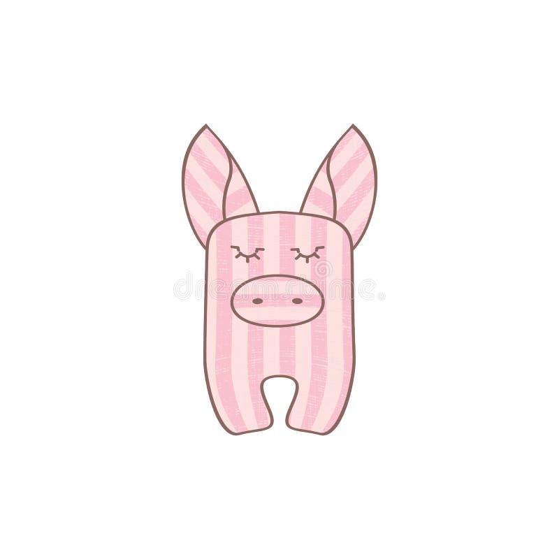 Pink striped pig royalty free illustration
