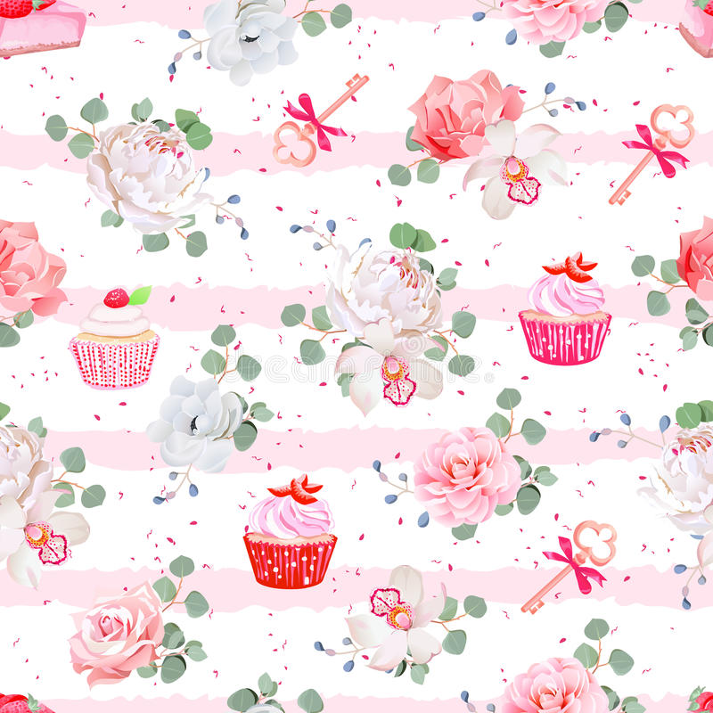 Pink striped seamless vector pattern with fresh pastries, bouquets of flowers and keys with red bows. vector illustration