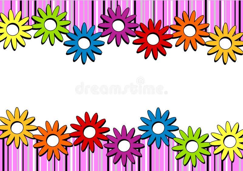 Pink Stripes and Flowers Horizontal Border royalty free illustration