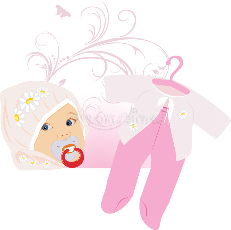 Pink suit for a baby girl. Illustration royalty free illustration