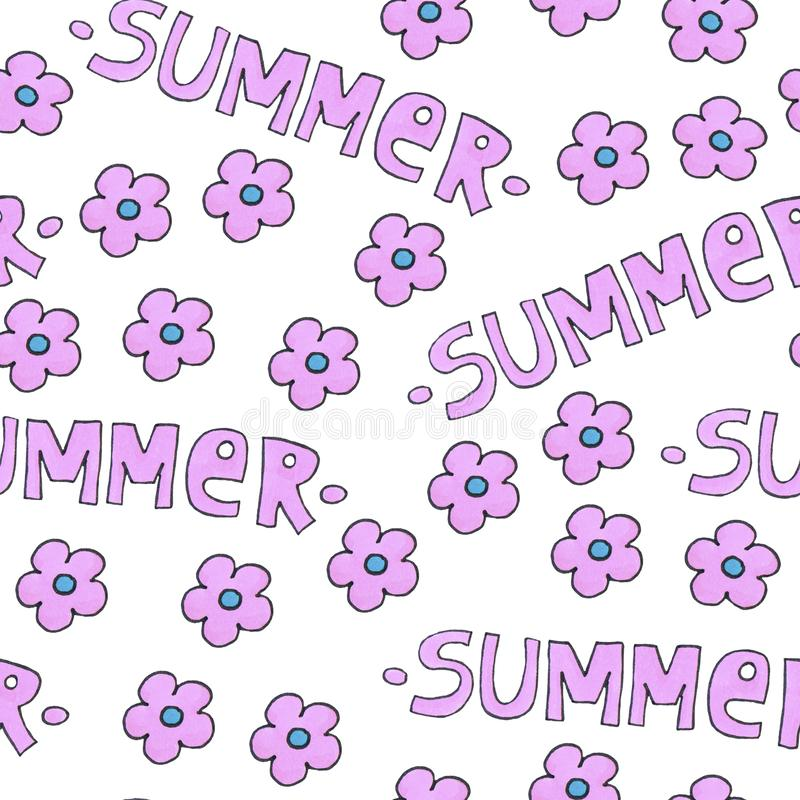 Pink summer pattern for background or package. Seasons concept with flowers. stock photography