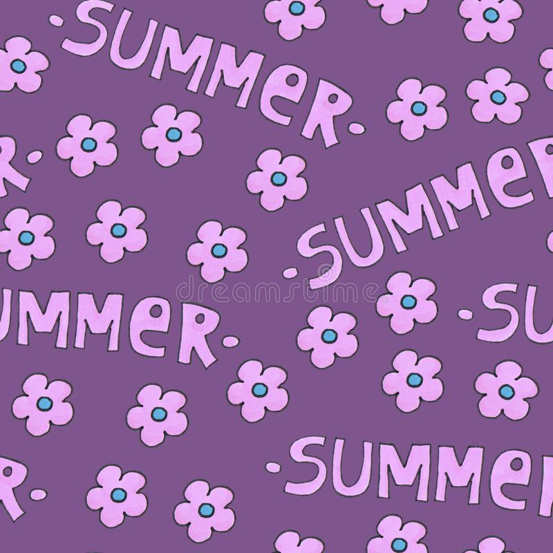 Pink summer pattern for background or package. stock image