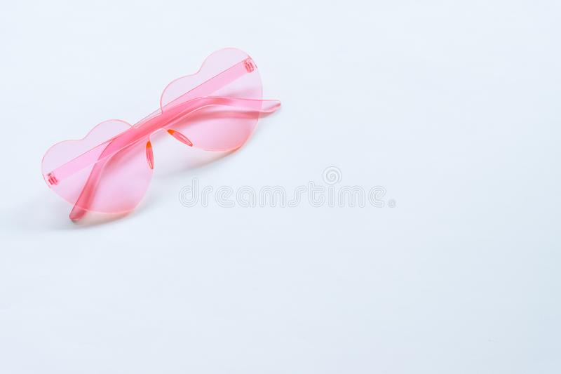 Pink sunglasses on White background royalty free stock photos