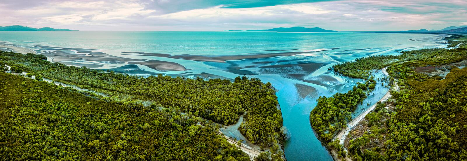 Sunrise and mangroves south of Townsville stock images