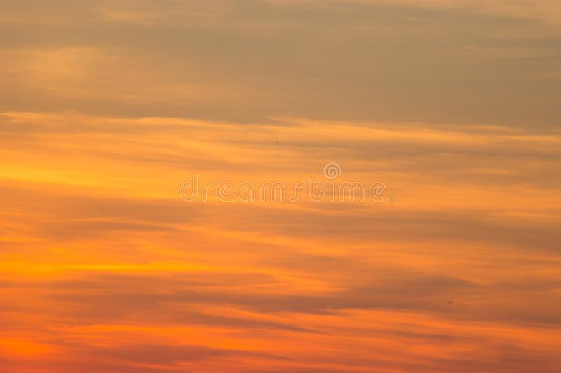 Pink sunset with beautiful, colorful clouds. stock image