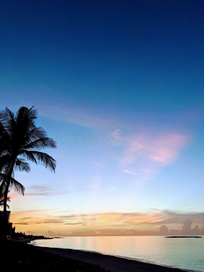 Pink sunset in Nassau Bahamas royalty free stock image