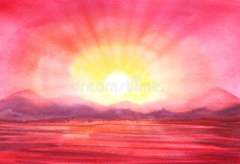 Pink sunset landscape. Silhouettes of purple misty mountains on far side lake river at sunrise. The bright rays of the vector illustration
