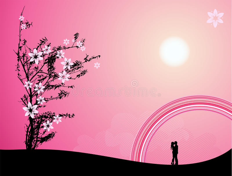 Pink sunset, love stock illustration