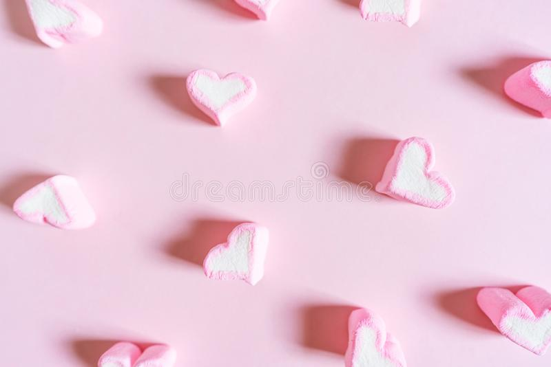 Pink Sweet Marshmallow, on Pink Pastel Coloured Background stock photo