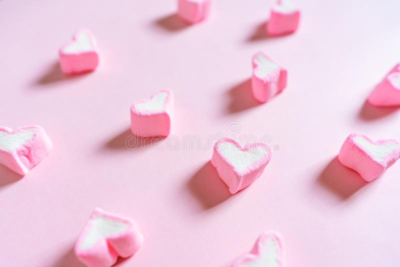 Pink Sweet Marshmallow, on Pink Pastel Coloured Background royalty free stock image