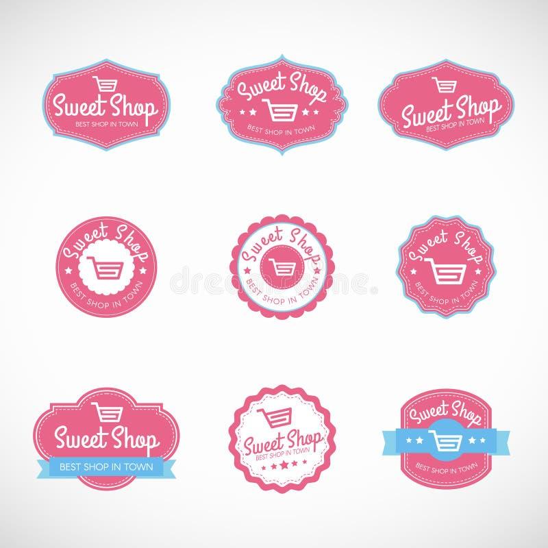 Pink Sweet shop and shopping cart banner vector vintage logo royalty free illustration
