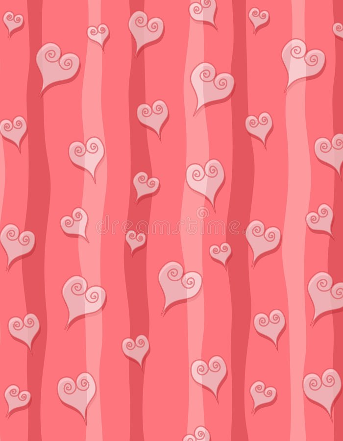 Pink Swirl Hearts Stripes vector illustration