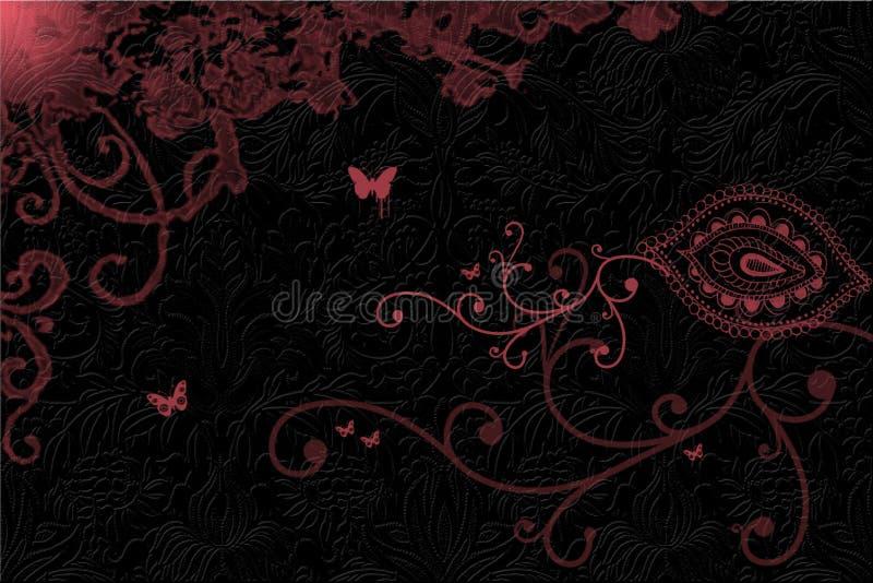 Pink swirls on dark background stock illustration
