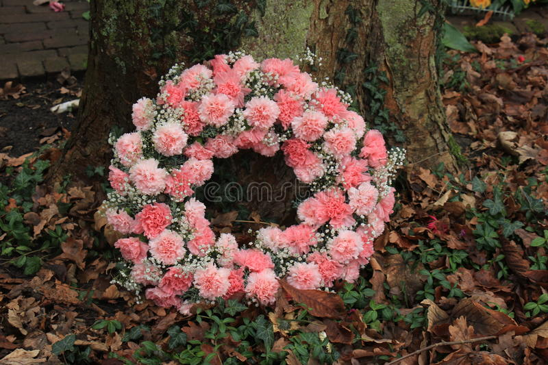 Pink Sympathy wreath near a tree. Pink sympathy or funeral flowers near a tree at a cemetery royalty free stock photos