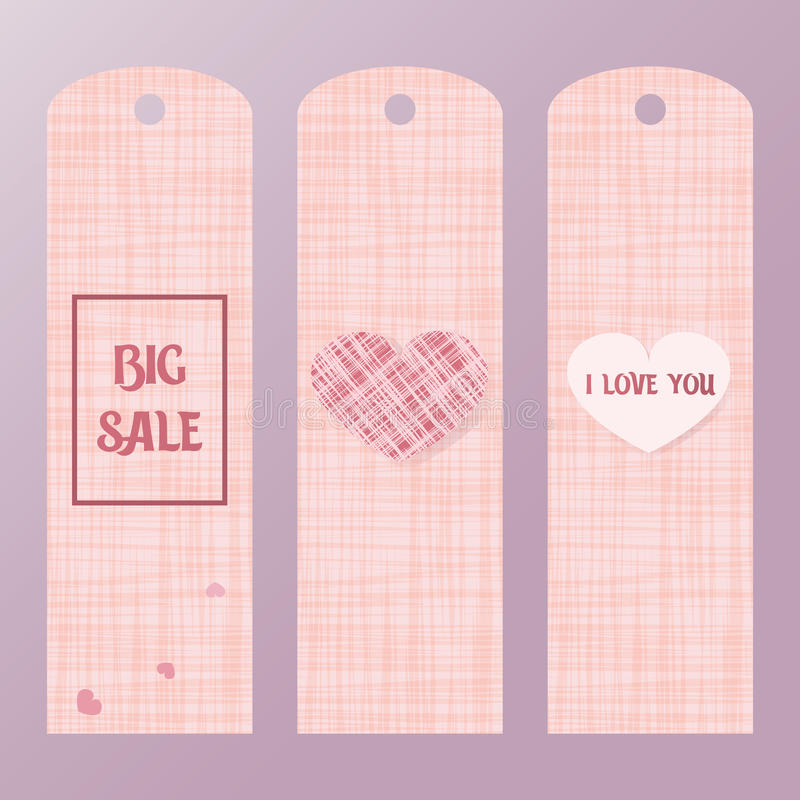 Pink tag for big sales with a heart. Label the price of goods pink colors. royalty free illustration