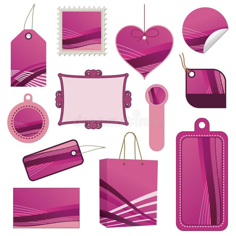 Pink tag set stock illustration