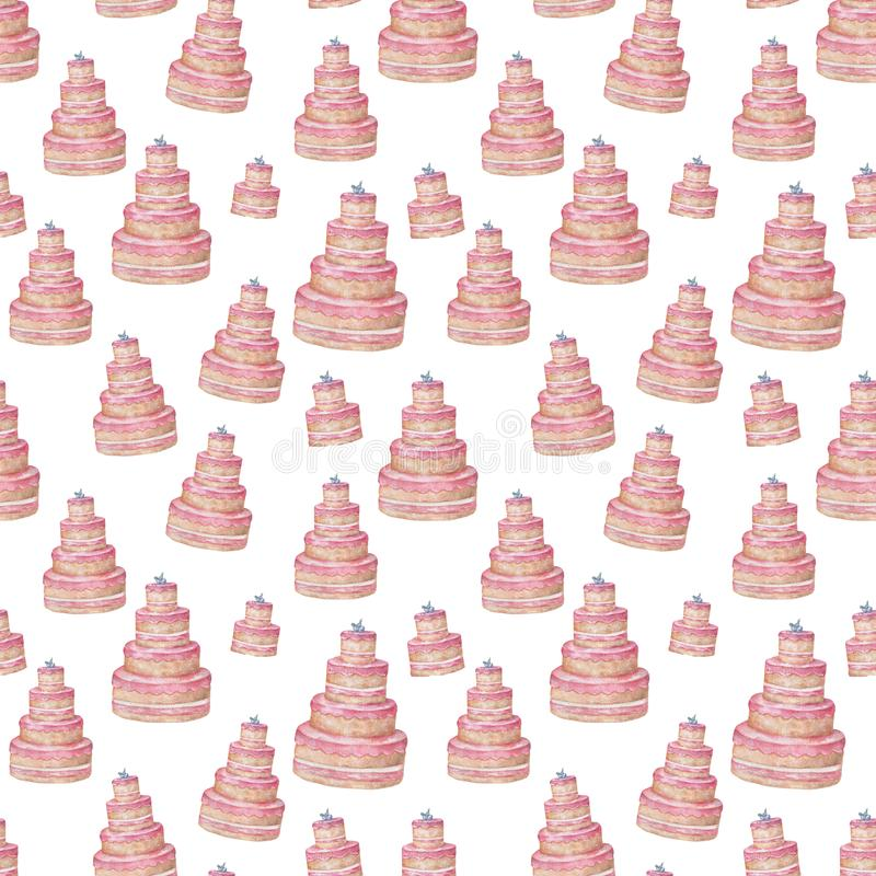 Pink tasty sugar cake pattern background of cute cupcakes in pastel colors watercolor clip art, birthday, invite box card on white stock illustration