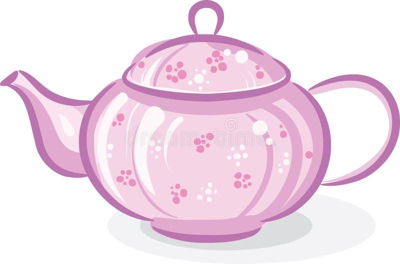 Pink teapot. Isolated on white stock illustration