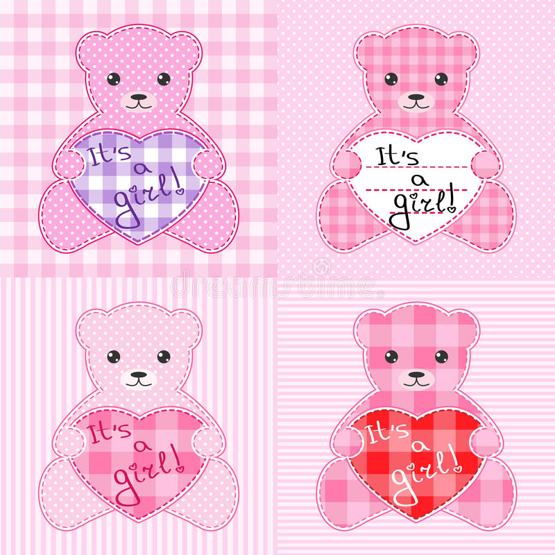 Download Pink teddy bears cards stock vector. Image of birthday - 20575520