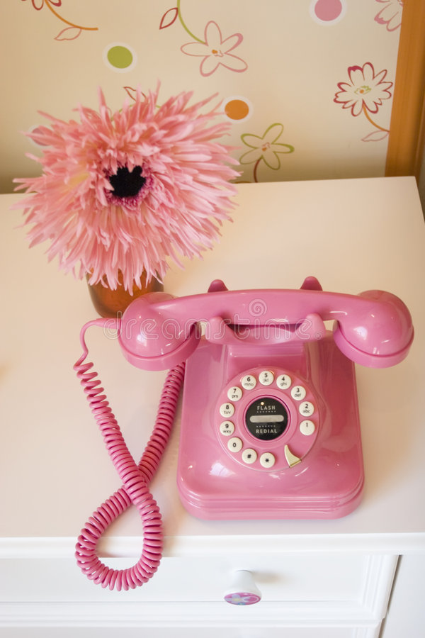 Pink telephone royalty free stock photo