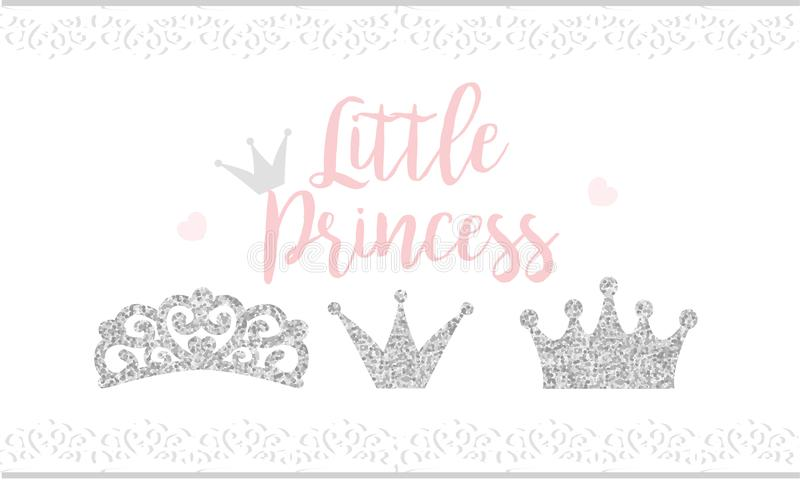 Pink text Little Princess on white background with lace. Cute silver glitter texture. Grey gloss effect. Birthday party and girl b. Aby shower decor vector illustration