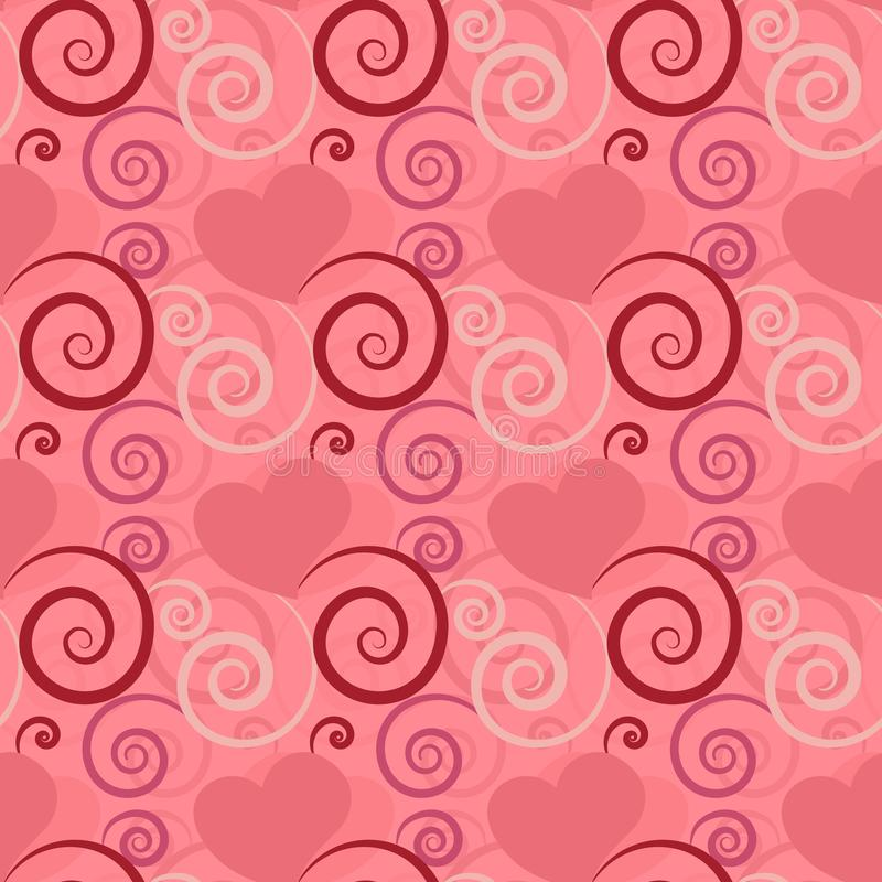 Beautiful pink hearts with floral decoration in seamless pattern tile. Pink textured beautiful seamless pattern tile with hearts and flourish designs for festive royalty free illustration