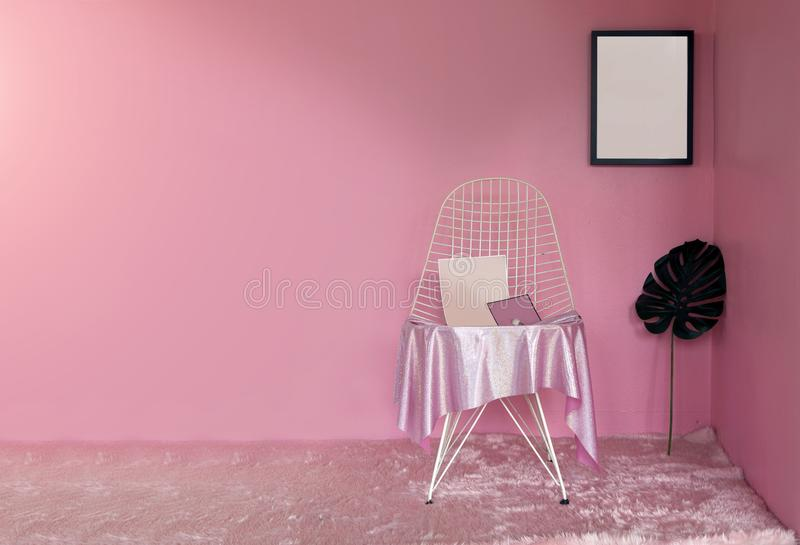 Pink Theme Decoration Living Room In Lady Concept Stock Image ...