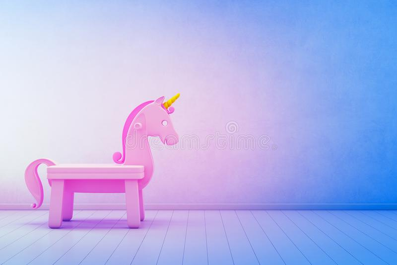 Pink Toy Unicorn On Wooden Floor Of Kids Room With Empty Blue ...