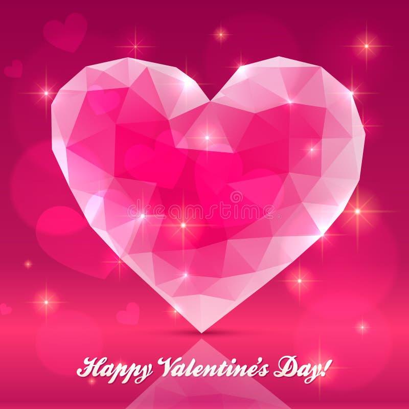 Pink transparent crystal heart stock illustration