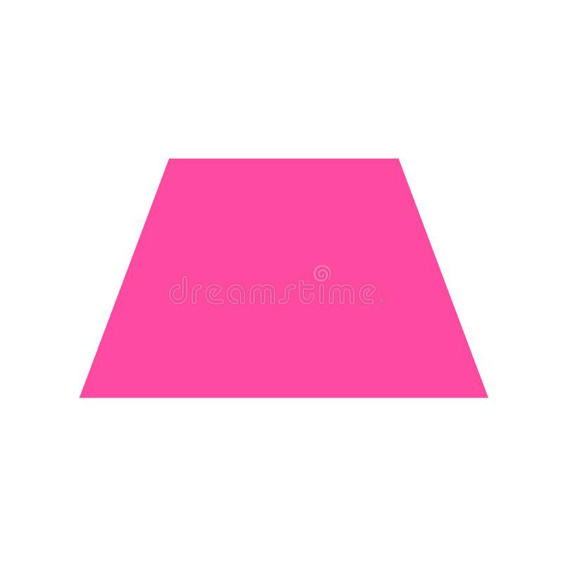 Pink trapezoid basic simple shapes isolated on white background, geometric trapezoid icon, 2d shape symbol trapezoid, clip art. Geometric trapezoid shape for stock illustration