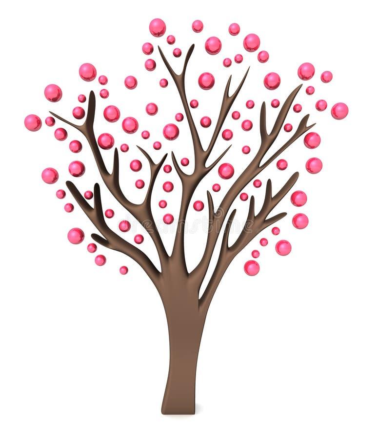 Pink tree 3d vector illustration